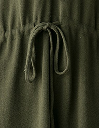 Youlee Mujeres Cuello en V Cordón de la cintura Jersey Vestir Verde