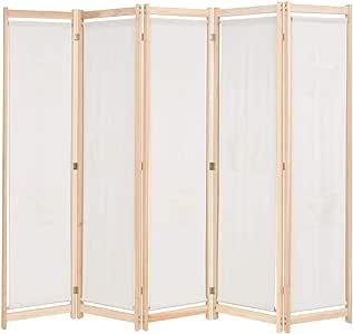 vidaXL Biombo 5 Paneles Separadores de Habitación 200x170cm Tela Crema Mampara: Amazon.es: Hogar