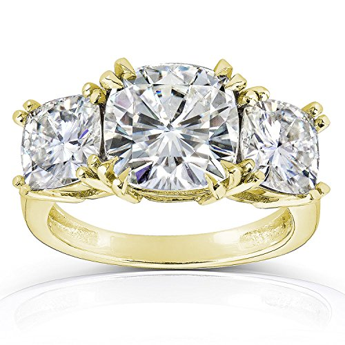 (2 Carat 3 Three Stone Cushion Diamond Engagement Ring 14K Yellow Gold H-I Color SI1-SI2 Clarity )