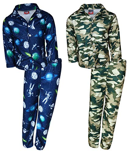 Set Coat Pj ('Mac Henry Boys Plaid Flannel Pajama Sleepwear Sets (2 Full Sets) (8-10, Navy Space/Army Camo)')