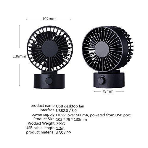 KOBWA Mini USB Fan Portable 2 Wind Modes 30 Degree Adjustable