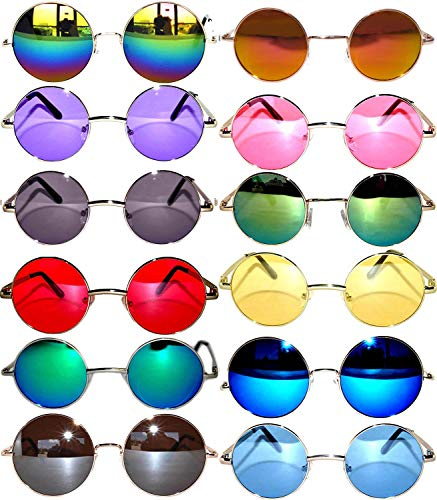 12 Round Retro Vintage Circle Tint Sunglasses Mix Colors Frame and Lens OWL