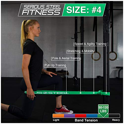 Serious Steel Fitness Green - #4 Average Pull-Up Assist & Stretching Resistance Band (Size: 1.75'' W, Resistance: 50-120lbs.) Pull-Up and Starter Band e-Guide Included by Serious Steel Fitness (Image #3)