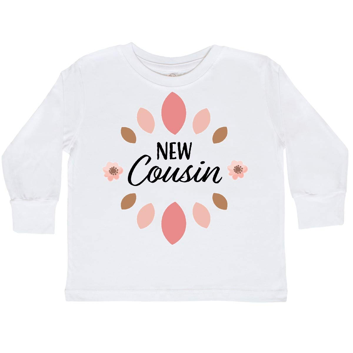 inktastic New Cousin with Pink Flowers Toddler Long Sleeve T-Shirt