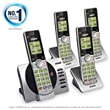 VTech DECT 6.0 Four Handset Cordless Phones with ITAD, CID, Backlit Keypads and Screens, Full Duplex Handset Speakerphones, Call Block Silver/Black, CS6929-4