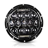 AUTOSAVER88 Round LED Headlight, 7 Inch 75W Daymaker Projector Headlight for Harley Motorcycle Jeep Wrangler JK CJ TJ