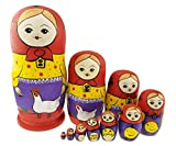 Winterworm Cute Farmer Girl and Chicken Pattern Wooden Handmade Russian Nesting Dolls Matryoshka Dolls Set 10 Pieces for Kids Toy Birthday Home Decoration