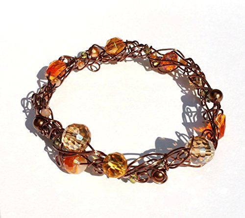 A Freeform Antique Copper Wire & Amber Orange Chocolate Brown Crystal and Pearl Wrapped Bangle Bracelet