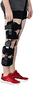 Hinged ROM Knee Brace with Strap,Post OP Patella Injury Immobilizer Support Medical Orthopedic Guard Protector - Adjustable Full Leg Stabilizer for ACL, Ligament, Sports Injuries