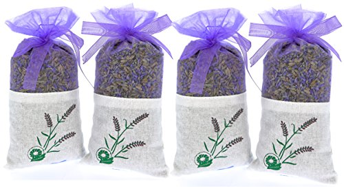 The Ambient Collection Pure Lavender Scent - 4 Sachet 20 grams 100% Pure Dried Lavender Buds - Fragrance Aromatherapy-Car-Closet-Drawers-Moths-Wardrobe by The Ambient Collection