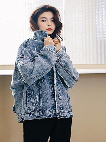 L arrancado suelto vaquera Moda de estilo picture chicas boyfriend S chaqueta jean color chaqueta mujer wgRq7TxZ5
