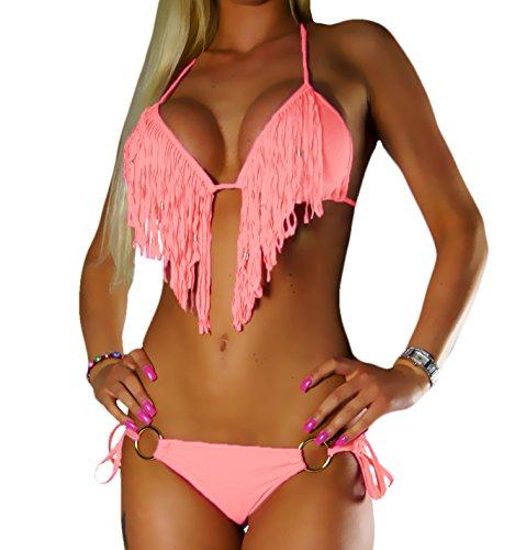 Et Frange Pantalon Saumon Set Push Alzora Bikini Mesdames Up Fringe 10200 6xw0Bqf