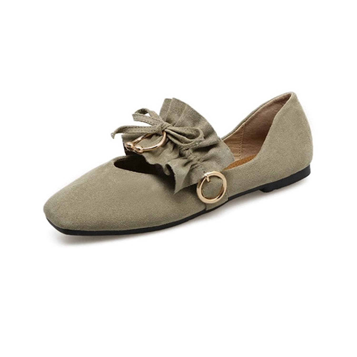 Giy Womens Retro Suede Square Toe Dress Loafers Flat Ballet Slip On