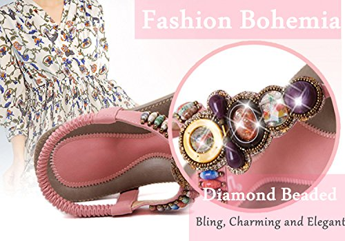 Women's Bling Crystal Rhinestone Silver Flip Flops Flat Sandals Ankle Strap Open-Toe Shoes in Bohemian Style by INNICON (Image #1)