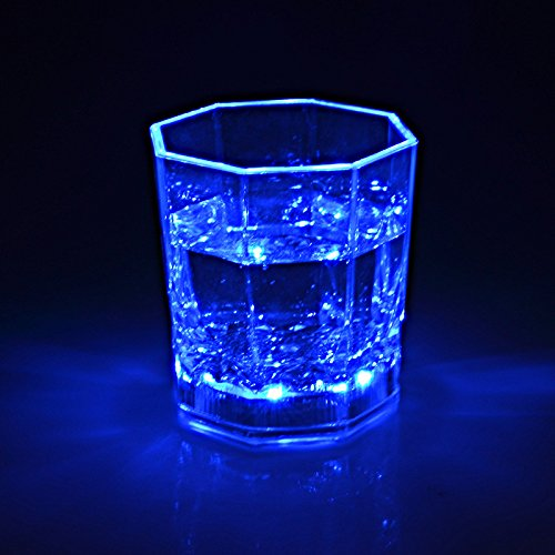 I-Fashion Flashing Light Up Wine Glasses with LED Glowing Lights Wine/Beer Cup for Nightclub Bar Birthday Party KTV Christmas 7 Colors 170ML (Blue) -