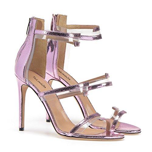 Purple De Alto Hn Sandalias Peep Verano Shoes Mujer Tacón Toe Zapatos Gladiador TxxqIPOZ