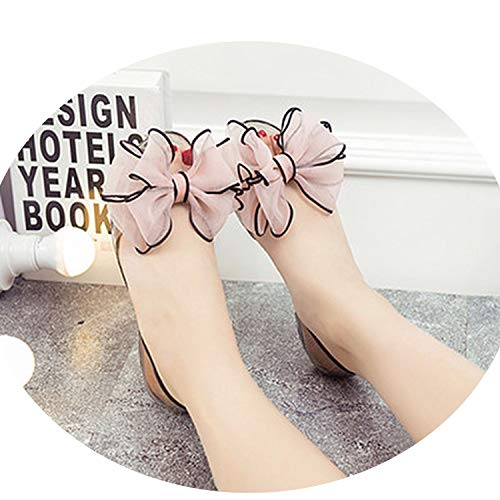 Heat-Tracing Lady Cute Black Bow tie Jelly Sandals Lady Casual Soft Sandals,bc,7.5 ()
