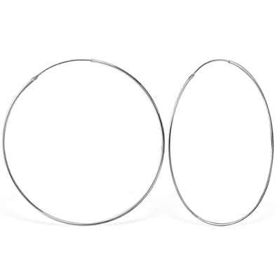 DTPSilver - 925 Sterling Silver Large Hoops Earrings - Thickness 1.2 mm - Diameter 70 mm wO8HntP