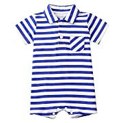 Baby Rompers and Jumpsuits Cotton Stripe Undershirt 1-Piece Short Sleeve Onesies (6Month, Blue)