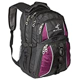 Exos Backpack, (Laptop, Travel, School or Business) Urban Commuter (Black with Purple Trim)