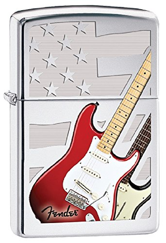 Zippo Personalized Message Engraved on Backside Fender Guitar Windproof Zippo Lighter ()