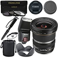 Canon EF-S 10-22mm f/3.5-4.5 USM Lens with Vivitar TTL Flash + 3pc Filter Kit + Monopod