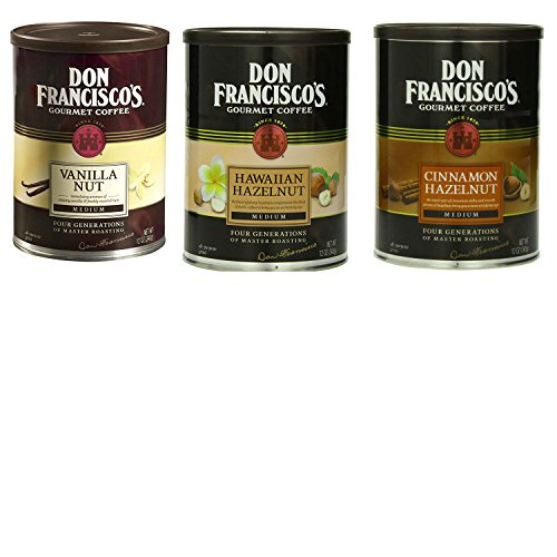 Don Francisco Coffee Bundle with 1 Can Each of Don Francisco Cinnamon Hazelnut Flavored Ground Coffee, Ground Vanilla Nut Coffee, and Don Francisco Hawaiian Hazelnut Flavored (Creme Flavored Regular Coffee)