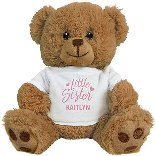 FUNNYSHIRTS.ORG Little Sister Kaitlyn: 8 Inch Teddy Bear Stuffed Animal -  Printed by eRetailing, 2634059No Size_Brown/White