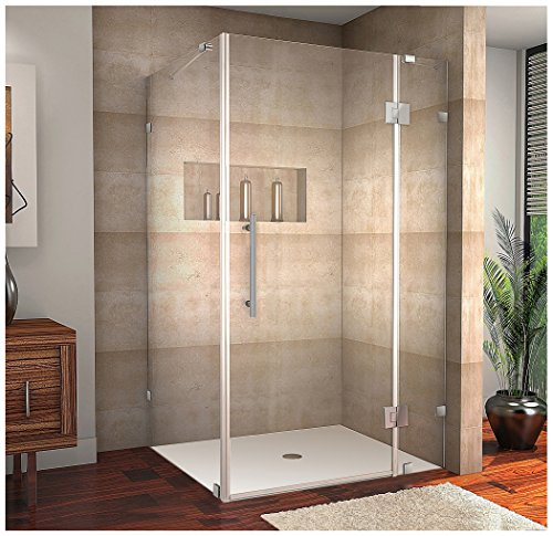 "Aston Avalux Completely Frameless Shower Enclosure, 40"" x 36"" x 72"", Brushed Stainless Steel"