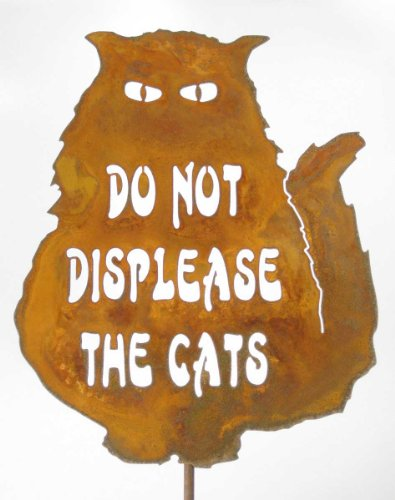 Zeds Zombie Ranch Do Not Displease The Cats Steel Yard and Garden Sign ()
