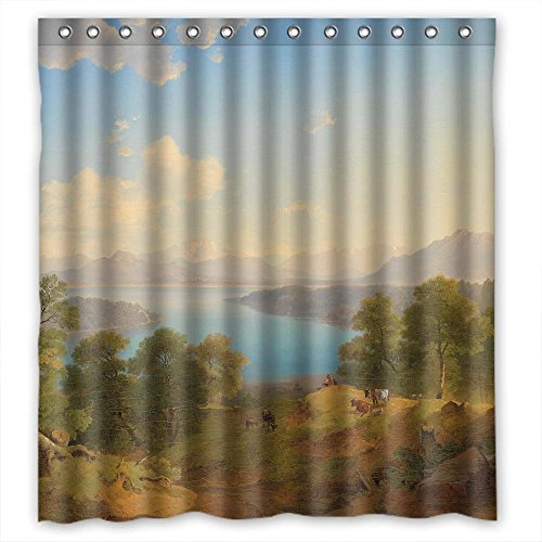 Price comparison product image MaSoyy Width X Height / 66 X 72 Inches / W H 168 By 180 Cm Beautiful Scenery Landscape Painting Bath Curtains Polyester Fabric Ornament And Gift To Hotel Birthday Him Father Kids. Wipe C