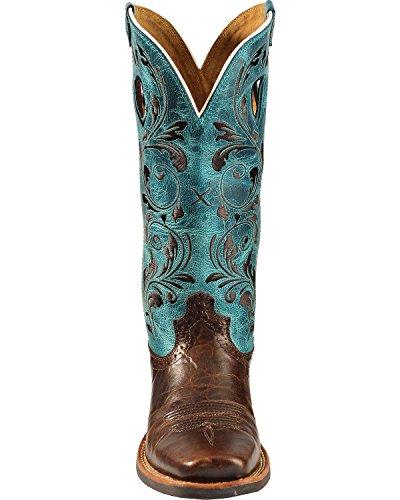Vridd X Kvinners Rysjer Lager Turkis Brodert Cowgirl Boot Firkantet Tå - Wrs0021 Sjokolade / Turkis