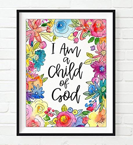 Religious Poster (Floral - I Am a Child of God - Galatians 3:26 Christian ART PRINT, UNFRAMED, Vintage Bible verse scripture wall decor poster, Inspirational gift, 8x10 inches)