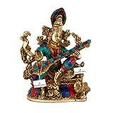CraftVatika Devi Maa Saraswati Brass Statue Religious Hindu Goddess Brass Idol-Goddess of Knowledge Music Art Figurine | Devi Maa Saraswati Turquoise Stone Metal Décor Figurine | Christmas Gifts |