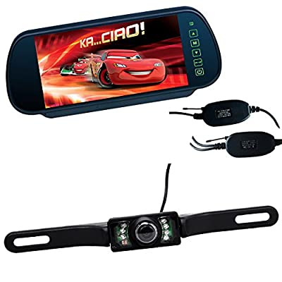 Buyee TFT Color Monitor Mirror + Wireless Car 7 IR Rearview Parking Camera Kit from The Rear View Camera Center