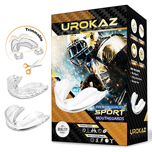 UROKAZ Football Mouth Guard Sports 3 Pieces Mouthguard and Mouthpiece for Boxing, MMA, Basketball, Lacrosse, Muay Thai, Hockey Mouthguards One Size Fit All for Contact and Non Contact Sport