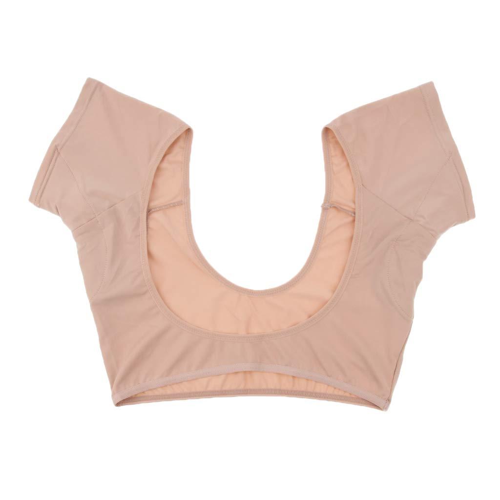 D DOLITY Underarm Armpit Sweat Absorbing Pads Underwear Vest Short Sleeve Shields - Skin Color, M