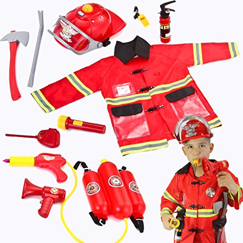 Boys Fire Chief Costume (Joyin Toy Kids Fireman Fire Fighter Costume Pretend Play Dress-up Toy Set)