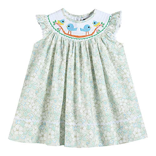 32120012092 Bishop Dress Floral Print & Bluebirds