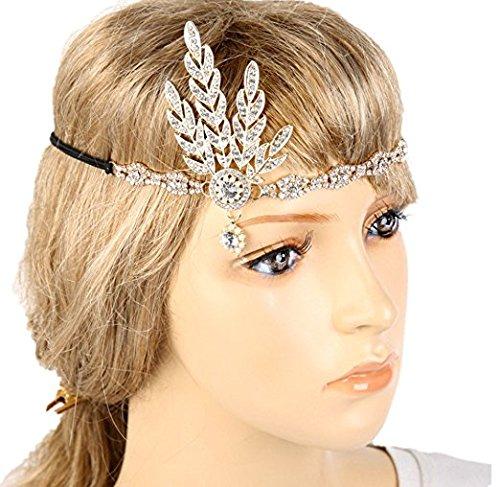 Meiysh Art Deco 1920's Flapper Great Gatsby Inspired Leaf Medallion Pearl Wedding Bridal Headpiece Headband ()