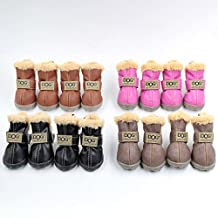 Ship From USA Dog Australia Boots Pet Antiskid Shoes Winter Warm Skidproof Sneakers Paw Protectors 4-pcs Set (XL, Light Brown)