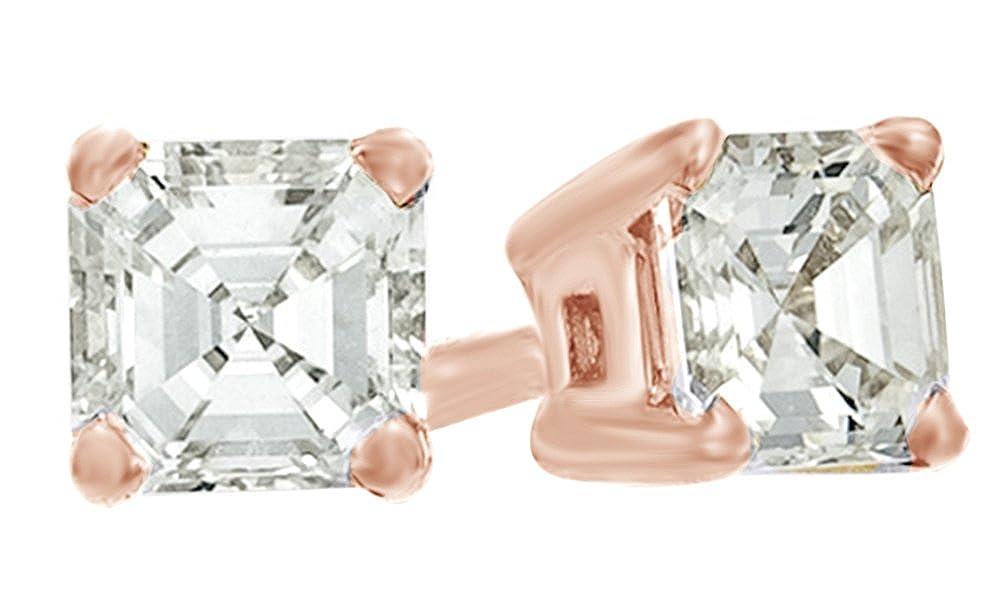 Asscherschliff Weißszlig; natürlicher Diamant Solitaire Ohrstecker in 14 ct 585 Weißszlig; Gold massiv (0,5 cttw 14 Karat RotGold