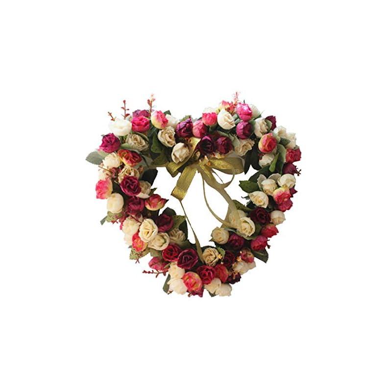 silk flower arrangements funpa 14 inch wedding wreath artificial rose heart shape door wreath party ornament