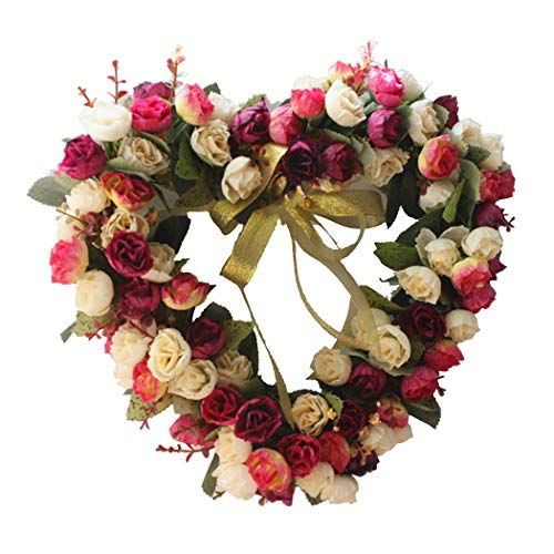 Funpa 14 inch Wedding Wreath Artificial Rose Heart Shape Door Wreath Party Ornament