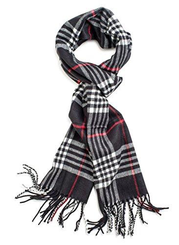 Veronz Soft Classic Cashmere Feel Winter Scarf, Black Plaid