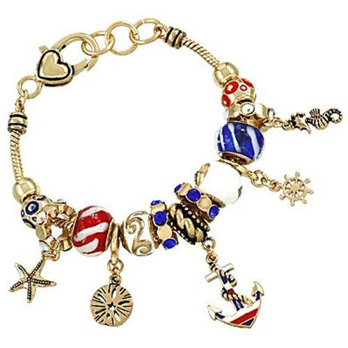 Life Aquatic Costumes (Red White Blue Goldtone Nautical Anchor Helm Sea Murano Glass Rhinestone Charm Bracelet, 7.5+.5