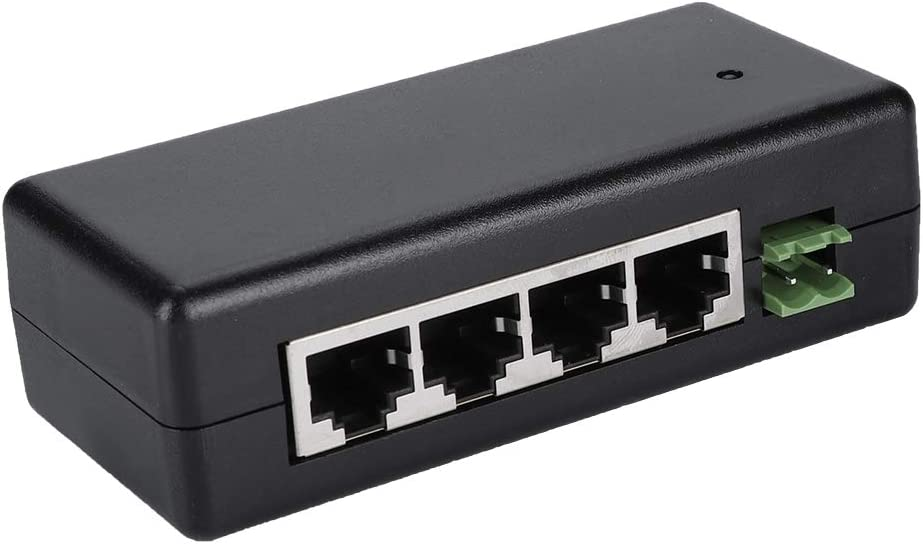 ASHATA - Conmutador PoE de 4 puertos Fast Ethernet, DC12V-48V, 4 puertos, adaptador PoE Ethernet, fuente de alimentación, 4 puertos Gigabit Switch 10/100Mbps, adaptador de red para cámara, color negro