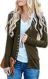 NENONA Women's V-Neck Button Down Knitwear Long Sleeve Soft Basic Knit Snap Cardigan Sweater(Army Green-S)