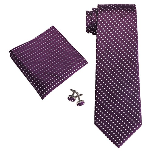 Purple Silk Various Set Tie Dots Polka Cufflinks Mens Hanky Landisun Tie H1qcOAwH