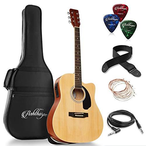 - Ashthorpe Full-Size Dreadnought Cutaway Acoustic-Electric Guitar Bundle - Premium Tonewoods - Natural